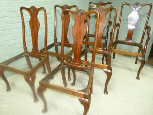 Set Of Six Queen Anne Dining Chairs, Queen Anne Mahogany Dining Chairs